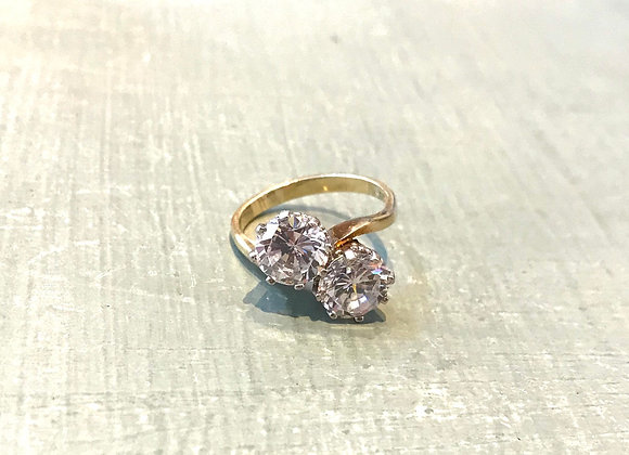 Gold on Silver twin Cubic Zirconia ring