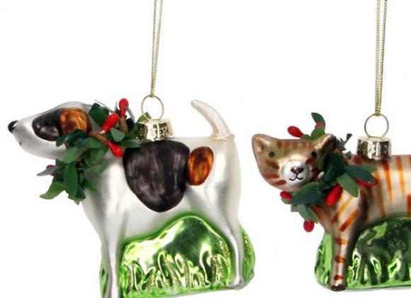 Gisela Graham Glass Dog & Cat Tree Decorations