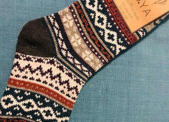 Grey Orkney Fairisle Socks