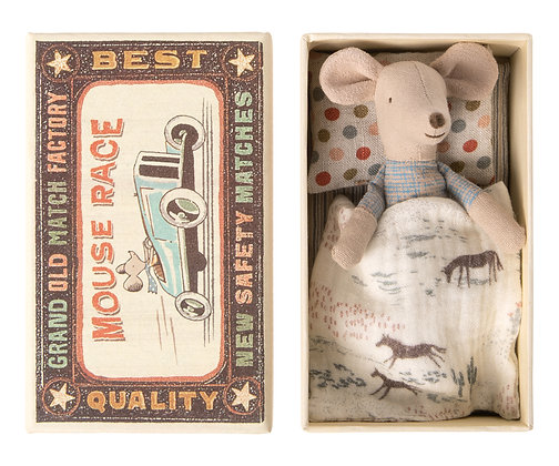 Little Brother Mouse in Matchbox -blue shorts