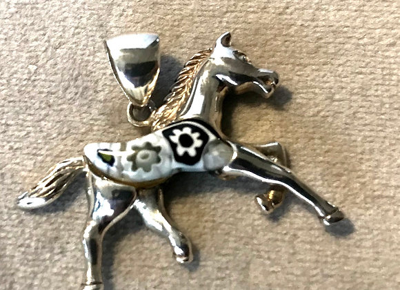 Murano Glass and Silver Pendant