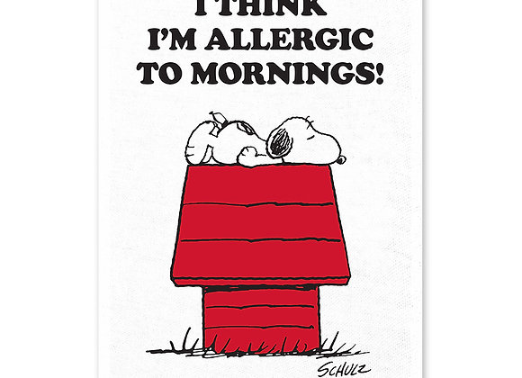 Peanuts tea towel: I think i'm allergic to mornings