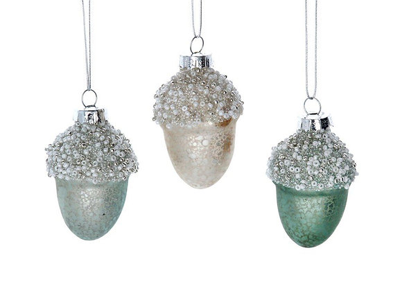Gisela Graham Glass Acorns Tree Decorations