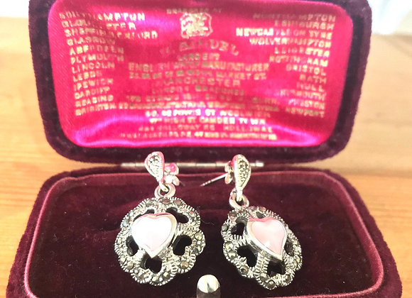 Silver Marcasite and Mother of Pearl Earrings