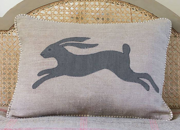 Susie Watson Applique Hare Linen Cushion