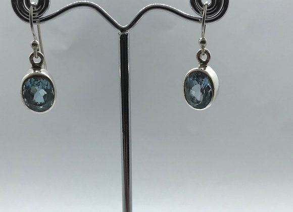 Silver 925 drop earrings with blue stone