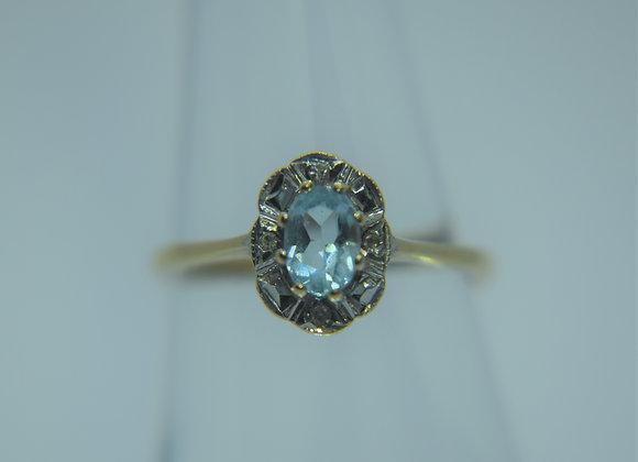 Vintage Gold, Aquamarine & Diamond ring