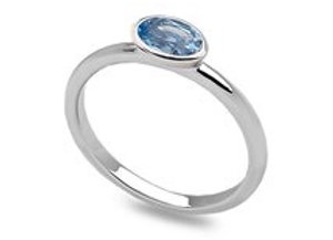 Sterling Silver blue crystal oval stacking ring