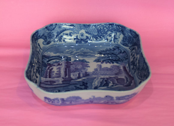 large blue and white dish