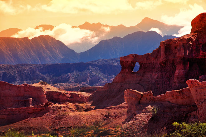 Red Mountain in the vicinity of the town of Cafayate. Province of Salta. Argentina_