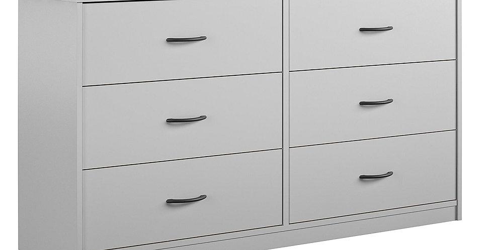 Classic 6 Spacious Drawer Dresser Dove Gray - Mainstays