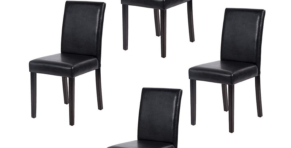 Set of 4 Urban Style Leather Dining Chairs With Solid Wood Legs Chair Black- FDW