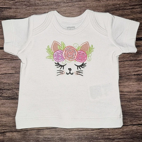Embroidered Applique Kitty T-Shirt