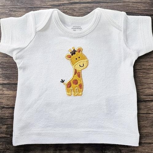 Embroidered Applique Giraffe T-Shirt