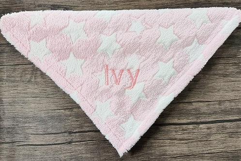 Pink Stars Print Fleece Blanket