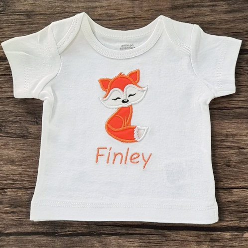 Embroidered Applique Fox T-Shirt