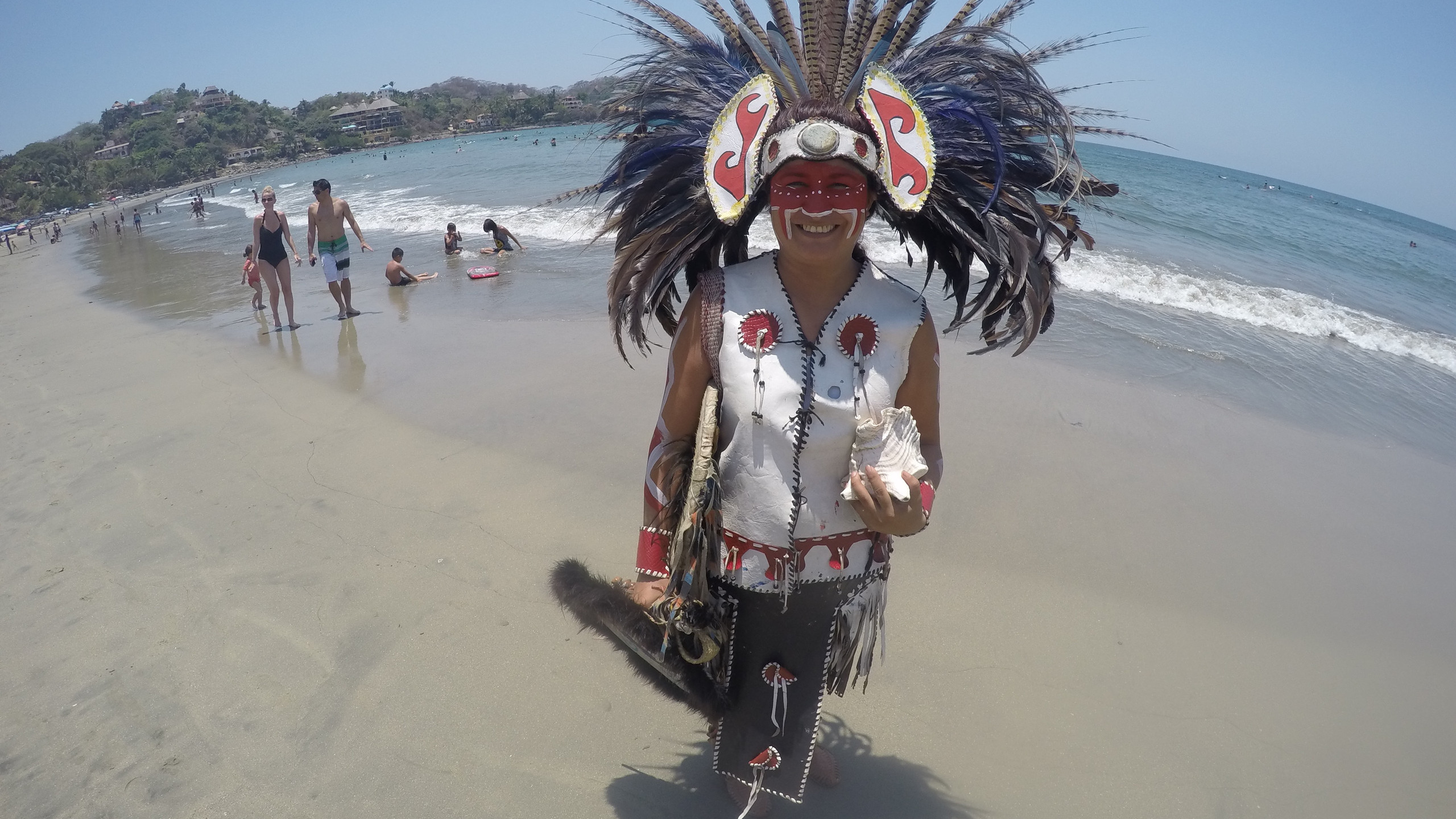 Traditional beach performer