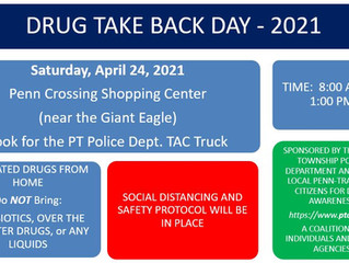 Drug Take-Back Day - Sat. April 24, 2021 @ Penn Crossing