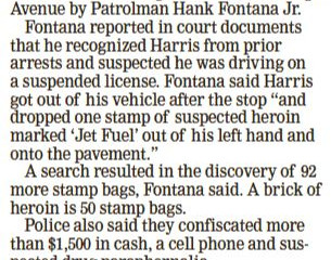 Tribune-Review, 5/20/2020 - Heroin bust during traffic stop.