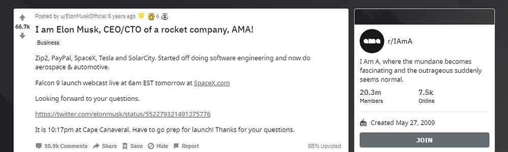 Elon Musk posting an AMA on Reddit to create engagement.