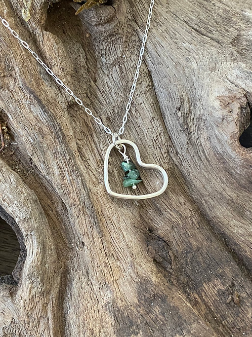May Emerald Gemstone & Sterling Silver Smooth Heart Birthstone Necklace
