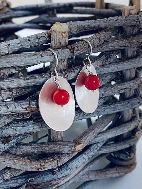 Red Bamboo Coral & Sterling Silver Oval Earrings