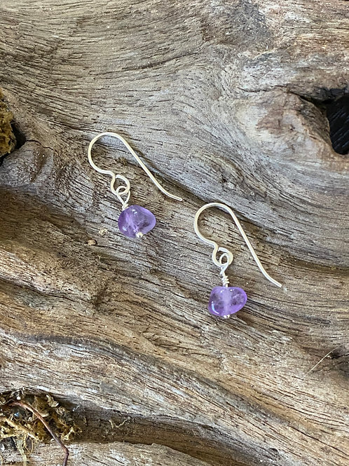 Birthstone earrings February - Sterling silver, Amethyst Gemstone