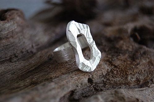 Chiseled Disk Sterling Silver Ring