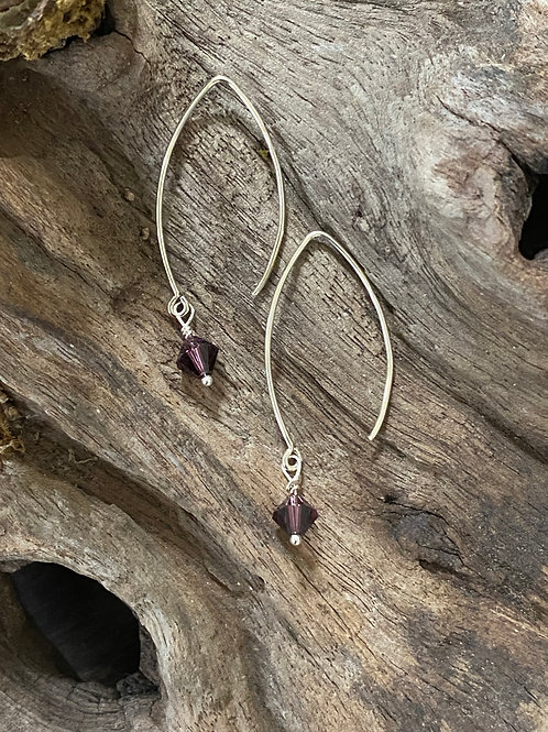 February Amethyst Swarovski Crystal & Sterling Silver Long Birthstone Earrings