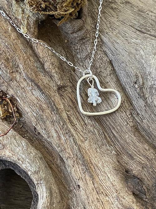 Birthstone heart necklace April - Sterling silver, Crystal Gemstone