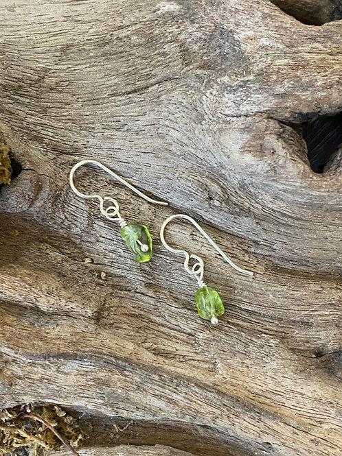 Birthstone earrings August - Sterling silver, Peridot Gemstone