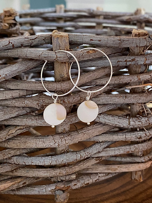 Natural Shell & Sterling Silver Hoop Earrings