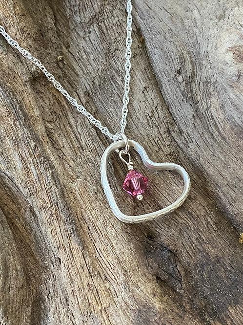 October Rose Quartz Swarovski Crystal & SS Textured Heart Birthstone Necklace