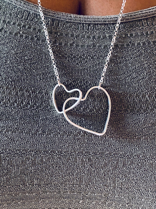 Linked Hearts Sterling Silver Necklace