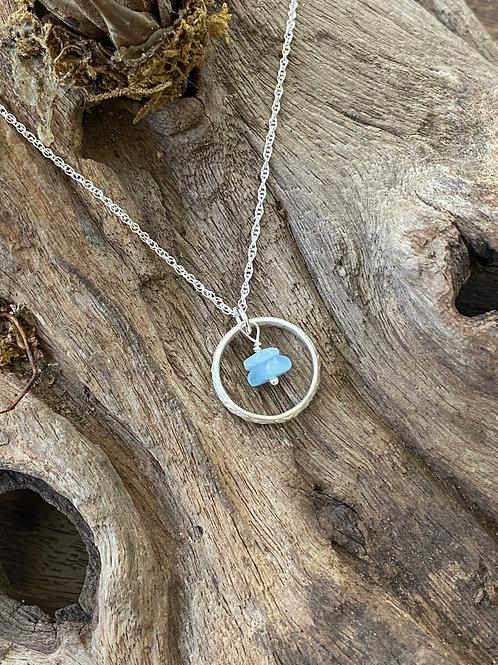 March Aquamarine Gemstone & Sterling Silver Textured Circle Birthstone Necklace