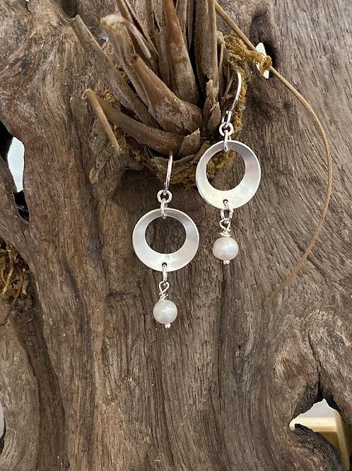 Pearl & Sterling Silver Disk Earrings