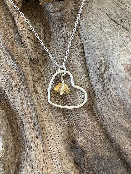 Birthstone heart necklace November - Sterling silver, Citrine Gemstone