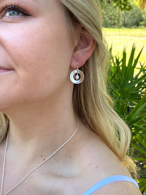 Concave Disk Freshwater Pearl & Sterling Silver Earrings