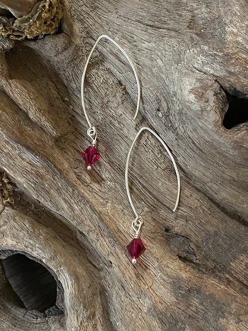Birthstone long earrings July - Sterling silver, Ruby Swarovski Crystal