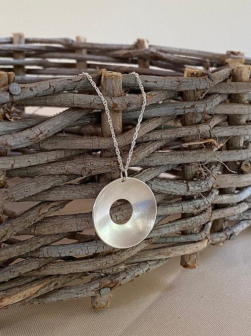 Polished Sterling Silver Concave Disk Necklace