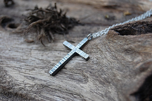 Etched Humble Cross Sterling Silver Necklace