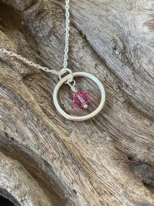 October Rose Quartz Swarovski Crystal & 925 SS Smooth Circle Birthstone Necklace