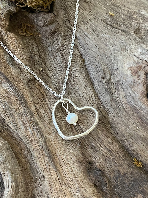 June Freshwater Pearl & Sterling Silver Textured Heart Birthstone Necklace