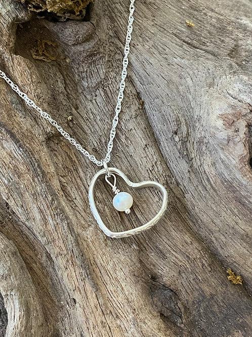 Birthstone pattern heart necklace June - Sterling silver, Freshwater Pearl