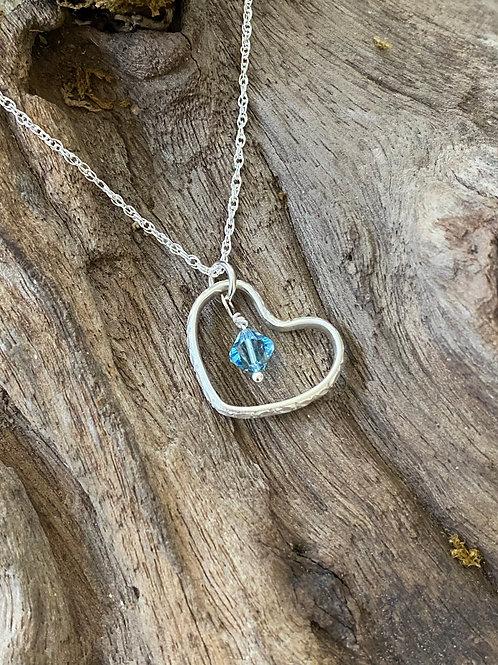 March Aquamarine Swarovski Crystal & 925 SS Textured Heart Birthstone Necklace