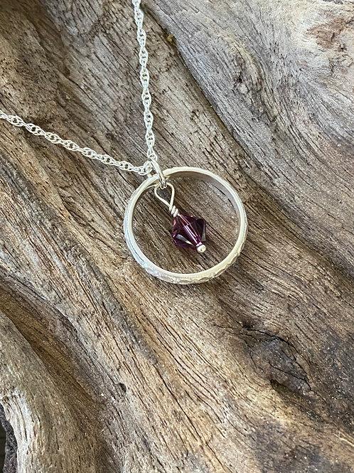 February Amethyst Swarovski Crystal & 925 SS Textured Circle Birthstone Necklace