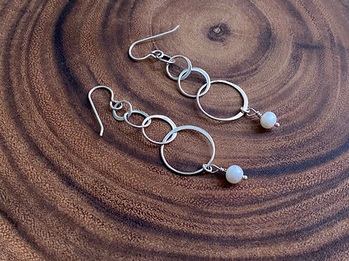 Four Linked Circles Freshwater Pearl & Sterling Silver Earrings