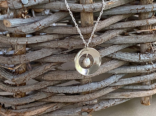 Concave Disk Freshwater Pearl & Sterling Silver Necklace