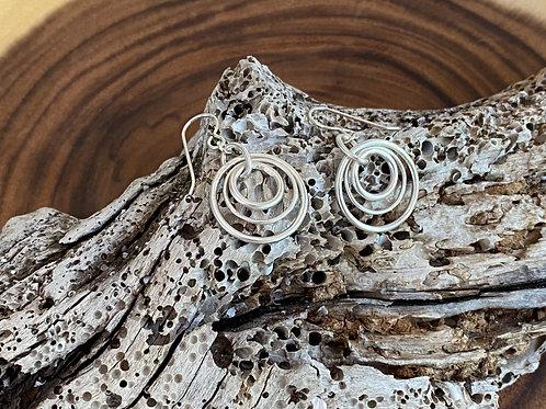 Three Rings Sterling Silver Earrings