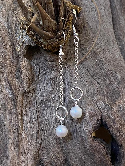 Freshwater Pearl & Sterling Silver Long Chain Earrings